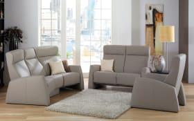 Funktions-Ledergarnitur 9103 Tangram Relax in Longlife grau, mit Relax-Funktion