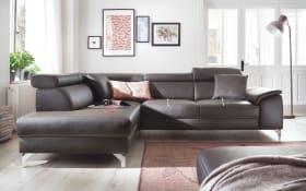 Leder-Wohnlandschaft Colano in brown, mit Funktionen