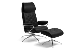 Sessel mit Hocker Metro Star 1292 in black