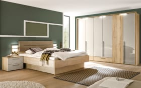 Schlafzimmer Merano in Lack kristallgrau/Eiche silea