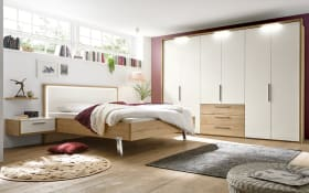 Schlafzimmer Dakota in Lack weiß Hochglanz/Eiche silea Nachbildung