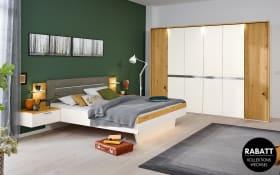 Schlafzimmer Ascea in bianco weiß/Balkeneiche Furnier, mit Hängenachtkonsolen