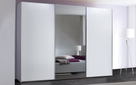 Schwebetürenschrank Savena in polarweiß matt, Breite 240 cm, Höhe 223 cm, mit großer Spiegeltür