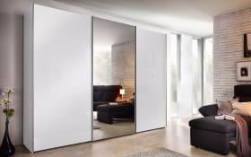 Schwebetürenschrank Savena in Weißglas, Breite 270 cm, Höhe 223 cm, mit großer Spiegeltür