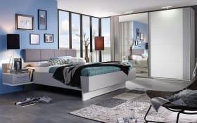 Schlafzimmer Luisa 03 in seidengrau/alpinweiß, Liegefläche 200 x 200 cm, Schrankbreite 270 cm