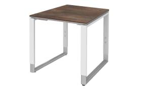 Schreibtisch Objekt Plus in weiß-oxido-Optik, Füße in weiß-alu, ca. 80 cm