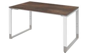 Schreibtisch Objekt Plus in weiß-oxido-Optik, Füße in alu, ca. 120 cm