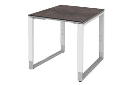 Schreibtisch Objekt Plus in weiß-quarzitfarbig, Füße in alu, ca. 120 cm