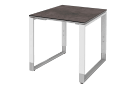 Schreibtisch Objekt Plus in weiß-quarzit-Optik, Füße in alu, ca. 120 cm