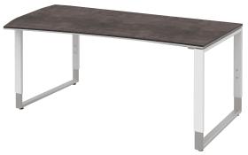 Schreibtisch Objekt Plus in weiß-quarzitfarbig, Füße in weiß-alu, links, ca. 200 cm