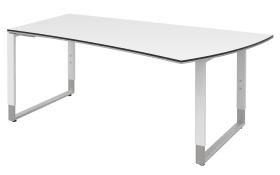Schreibtisch Objekt Plus in weiß Matt, Füße in weiß-alu, links, ca. 200 cm