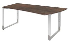 Schreibtisch Objekt Plus in weiß-oxidofarbig, Füße in weiß-alu, links, ca. 200 cm