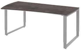 Schreibtisch Objekt Plus in weiß-quarzitfarbig, links, Füße in alu, ca. 180 cm