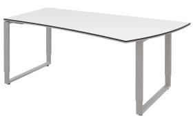 Schreibtisch Objekt Plus in weiß Matt, links, Füße in alu, ca. 200 cm