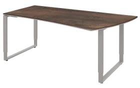 Schreibtisch Objekt Plus in weiß-oxidofarbig, links, Füße in alu, ca. 180 cm
