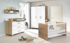 Babyzimmer Benno in kristallweiß hochglänzend/Riviera-Eiche-Optik
