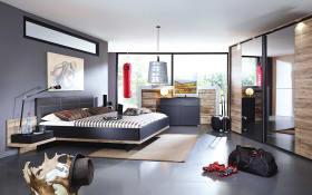 Schlafzimmer Vadora in schwarz matt/Eiche San Remo dunkel Dekor