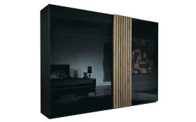 Schwebetürenschrank Tegio in schwarz/Nussbaum-Nachbildung, Breite ca. 240 cm