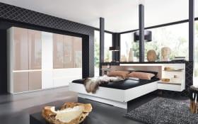 Schlafzimmer Atami in weiß/fango Hochglanz