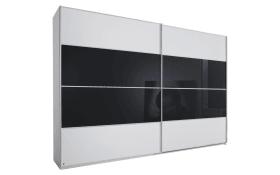 Schwebetürenschrank Juwel in weiß matt/Farbglas basalt, B/H ca. 340 x 223 cm