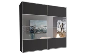 Schwebetürenschrank Juwel in graphit matt/Spiegel, B/H ca. 239 x 235 cm