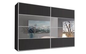 Schwebetürenschrank Juwel in graphit matt/Spiegel, B/H ca. 340 x 223 cm