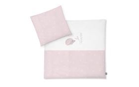 Bettwäsche mit Applikation in weiß/mit Muster Igel/Star rose, 80 x 80 cm