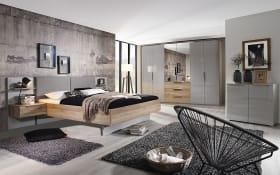 Schlafzimmer Launch in seidengrau/Sanremo Eiche hell Optik, ohne Bettschubkasten