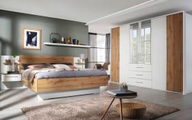 Schlafzimmer Novy in alpinweiß/ Eiche Wotan-Optik, ohne Bettschubkasten
