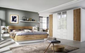 Schlafzimmer Novy in alpinweiß/ Eiche Wotan-Optik, mit Bettschubkasten