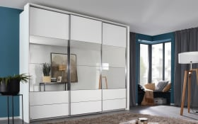 Schwebetürenschrank Rimini in Hochglanz weiß mit Spiegeln
