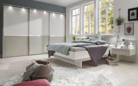 Schlafzimmer Alaska in alpinweiß/ Absetzung kieselgrau Dekor