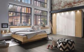 Schlafzimmer Amarillo in weiß-Glas/Absetzung Balkeneiche Furnier