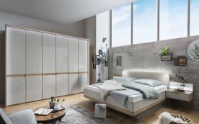 Schlafzimmer Barcelona in Bianco Eiche-Optik/Farbglas champagner, ca. 160 x 200 cm