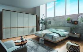 Schlafzimmer Barcelona in Bianco Eiche-Nachbildung/Farbglas champagner, ca. 160 x 200 cm