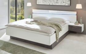 Bett mit Nachtkonsolen 4002 in weiß hochglanz