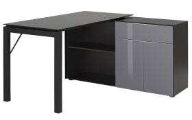 Schreib-/Computertisch 3883 in Eiche schwarz/Grauglas