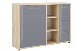 Sideboard-Kombi Set + in Eiche Natur Nachbildung-dunkelgrau, Regal mittig