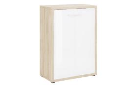 Sideboard Set + in Eiche Natur Nachbildung-weiß, 111 cm