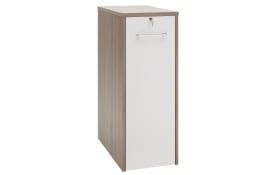 Anstellcontainer 7001 in Eiche trüffel sägerau Nachbildung-Lack weiß Spiegelglanz, ca. 115 cm hoch