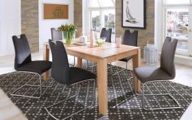 Stuhlgruppe - Schwingstuhl in grau, Esstisch Eiche bianco massiv