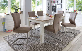 Stuhlgruppe in braun/weiß