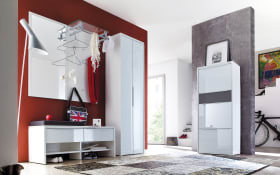Garderobenkombination Gloss in weiß/anthrazit