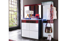 Garderobenkombination Gloss in weiß/weinrot