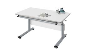 Schreibtisch Gino in weiß/silber