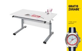 Schreibtisch Marco 2 in weiß/silber mit Kinder-Armbanduhr in blau/rot