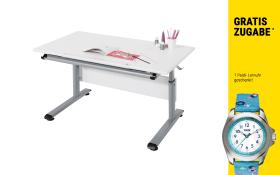 Schreibtisch Marco 2 in weiß/silber mit Kinder-Armbanduhr in türkis