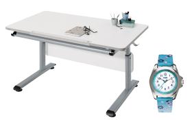 Schreibtisch Gino in weiß/silber, abgerundete Ecken, mit Kinder-Armbanduhr in türkis