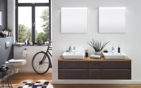 Bad-Einrichtung Unique in Stahl dunkel-Optik/Waschtischplatte in Hunton Eiche-Optik