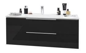 Set Mineralgußwaschtisch & Waschtischunterschrank Slim Line in Lack carbon Hochglanz